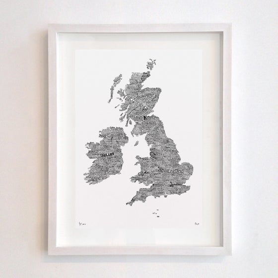 Image of Great British Type Map (White)