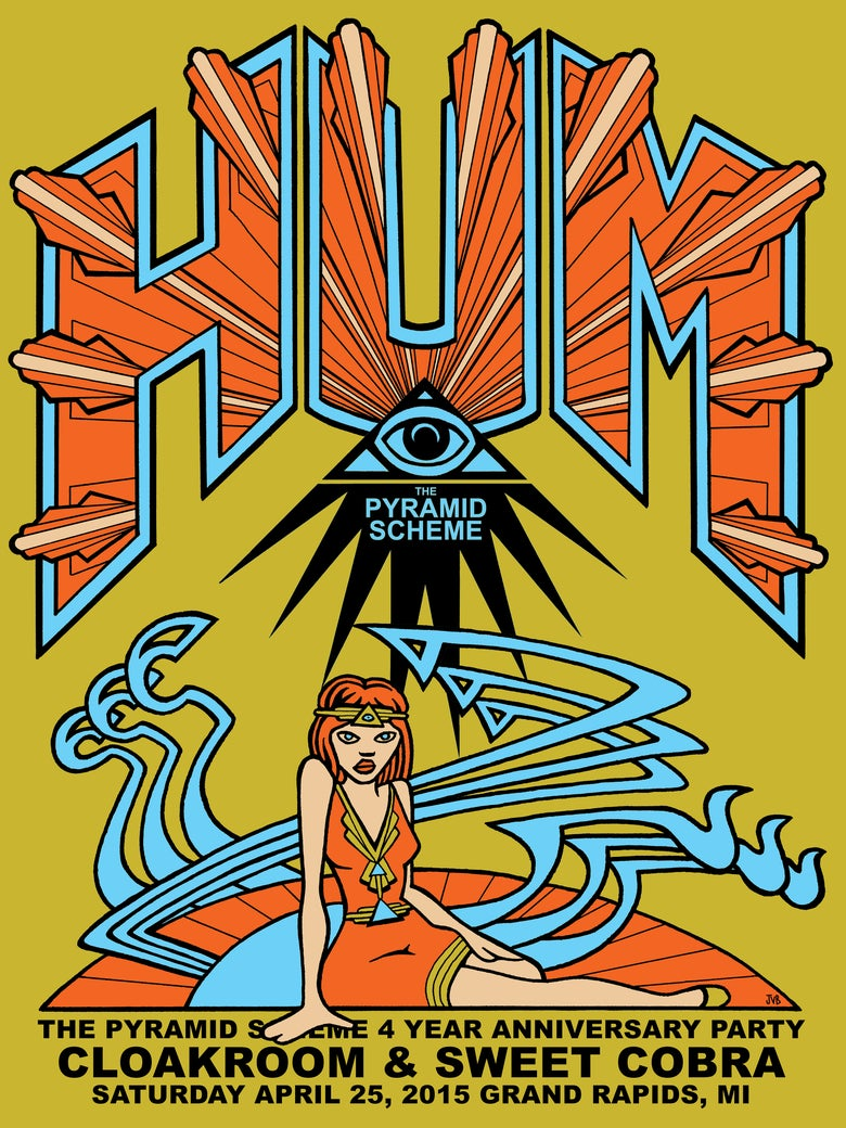 Image of HUM + Cloakroom + Sweet Cobra Poster