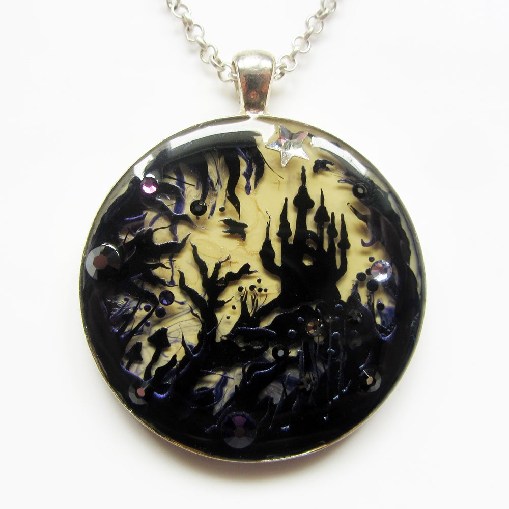 Forest Macabre Large Round Silver Pendant  * ON SALE - Was £30 now £15 *