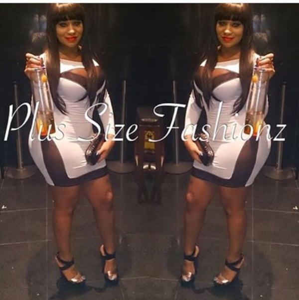White/Black Sheer Dress - Plus Size Fashionz