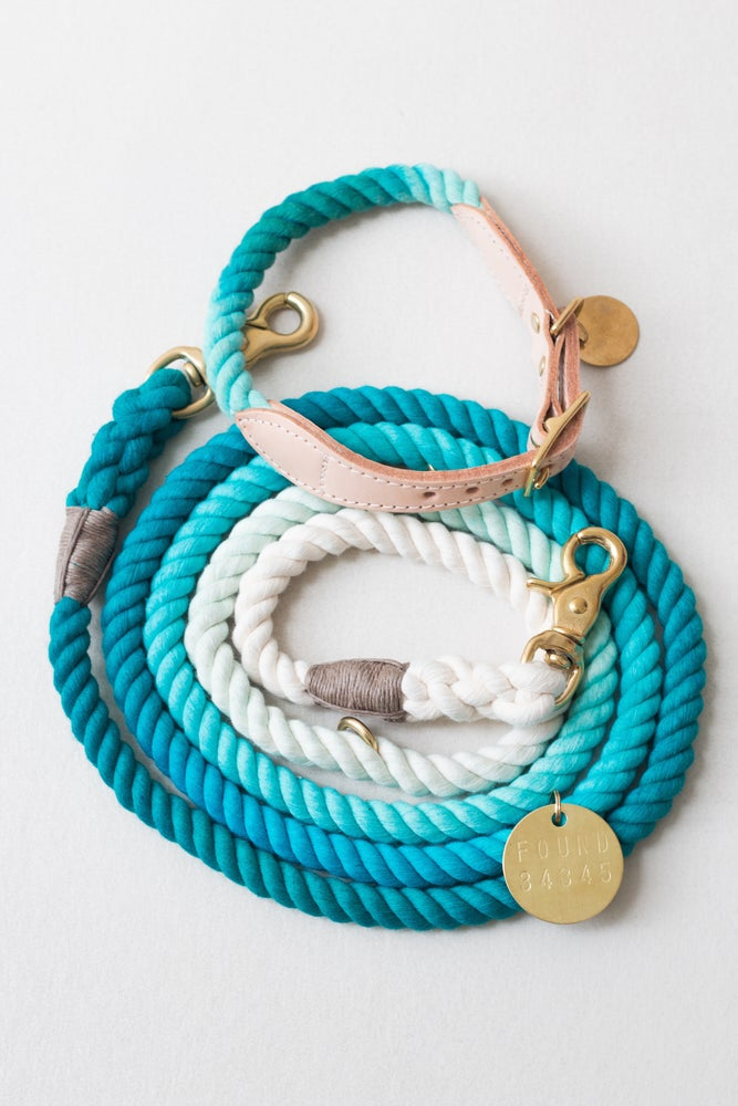 Image of Teal, Ombre Rope & Leather Collar