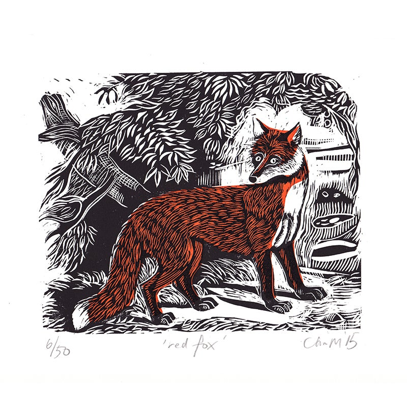 Image of 'Red Fox' - Linocut and screenprint