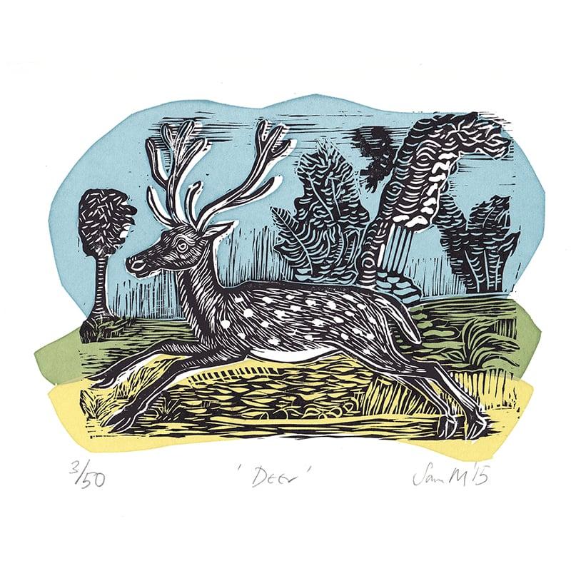 Image of 'Deer' - Linocut and screenprint