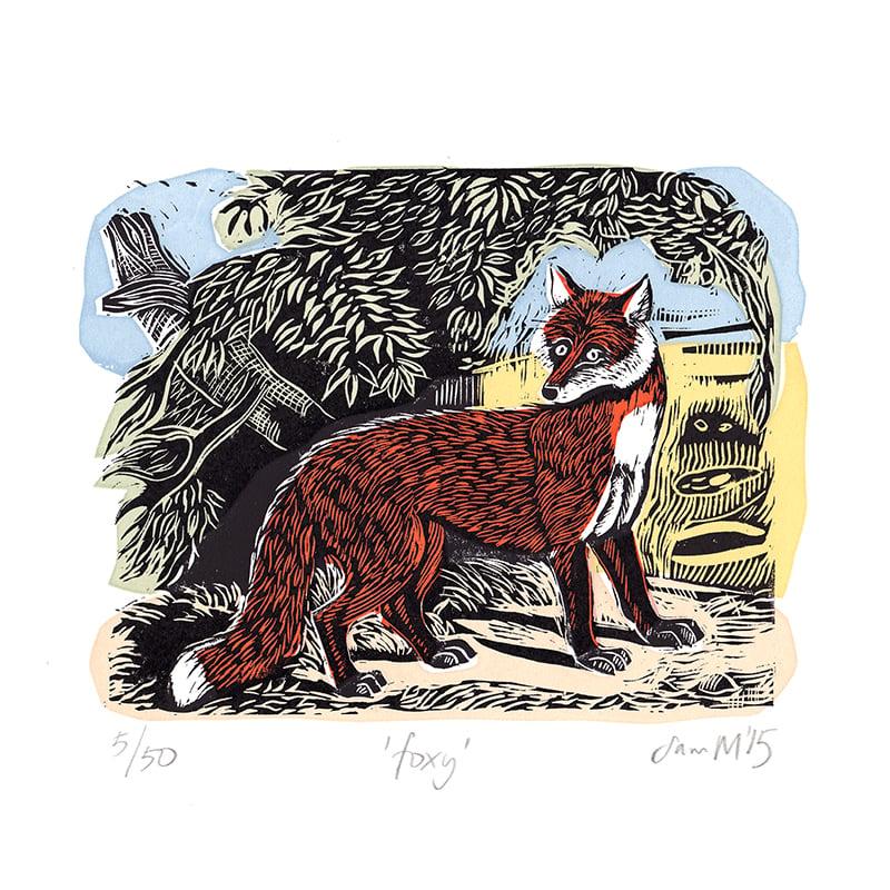Image of 'Foxy' - Linocut and screenprint