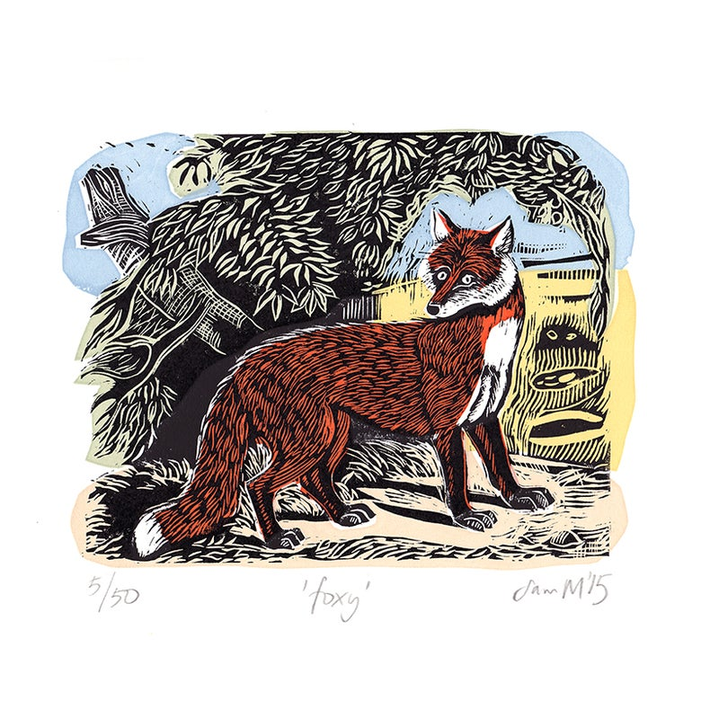 Image of 'Foxy' - Linocut and screenprint