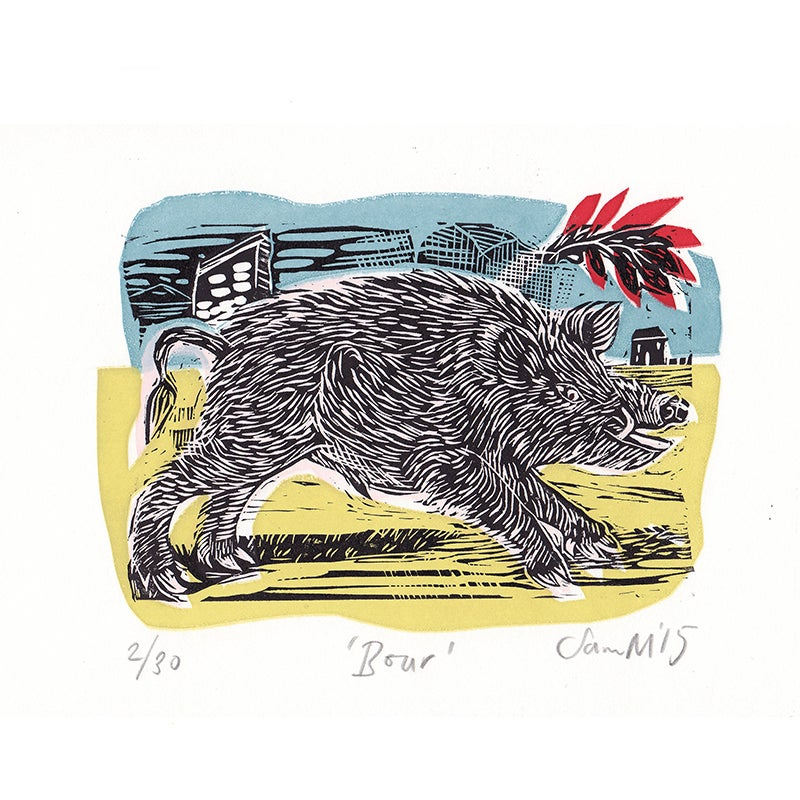 Image of 'Boar' - Linocut and screenprint