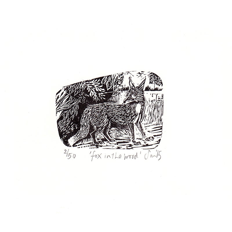 Image of 'Fox in the wood'- Wood engraving