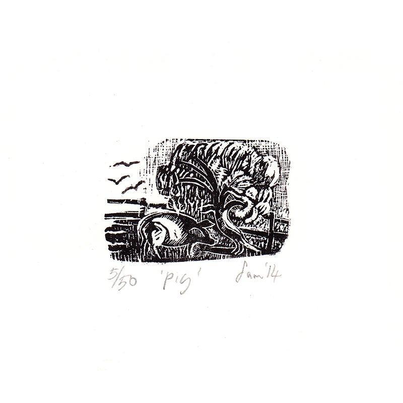 Image of 'Pig'- Wood engraving