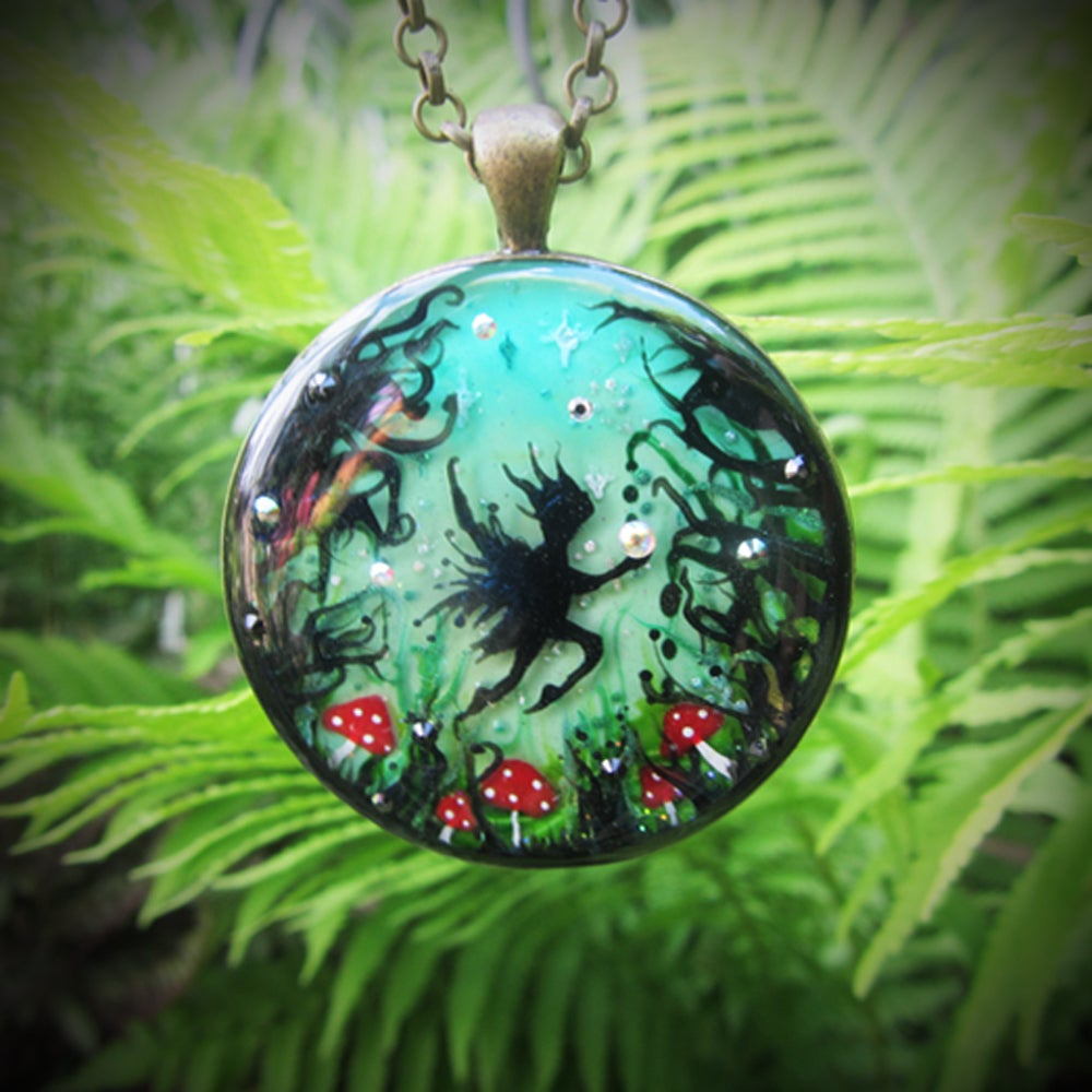 Enchanted Fairy Forest Round Pendant