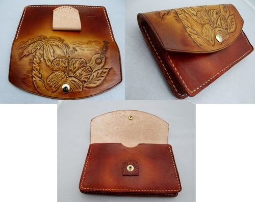 Image of Custom Hand Tooled Leather Smartphone case pouch belt holster. Made to fit ANY phone.