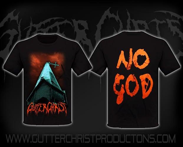 Image of gutter christ no god t shirt in stock