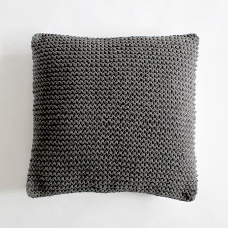 Image of charcoal knit cushion cover