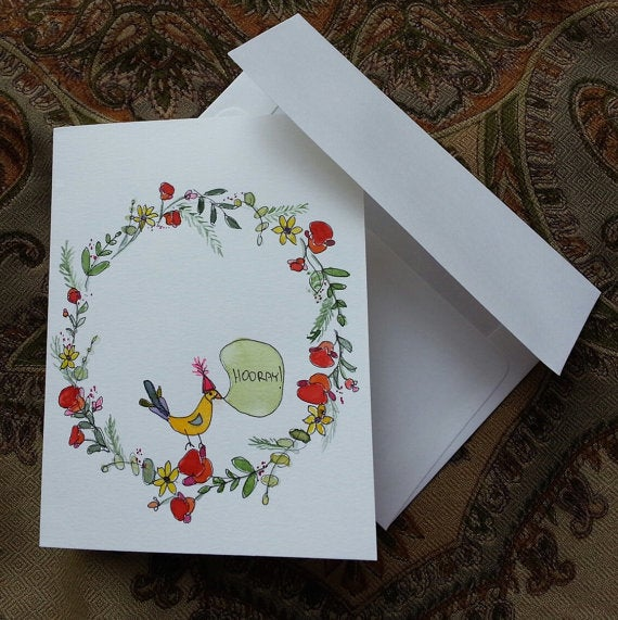 Sweet Pea And Cherry Original Watercolor And Pen Greeting Card