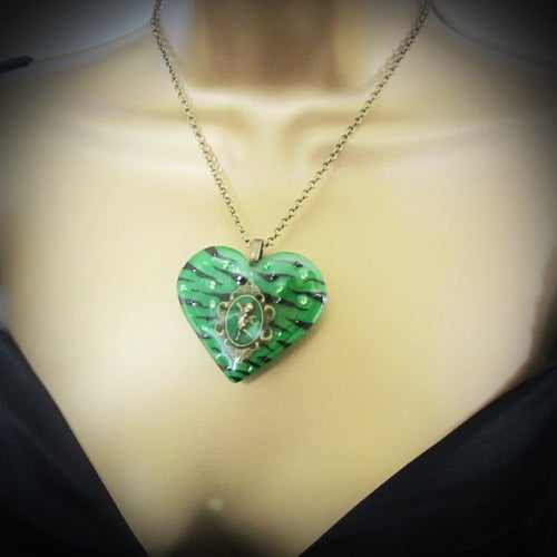 Image of Green Zebra Cameo Resin Heart Pendant