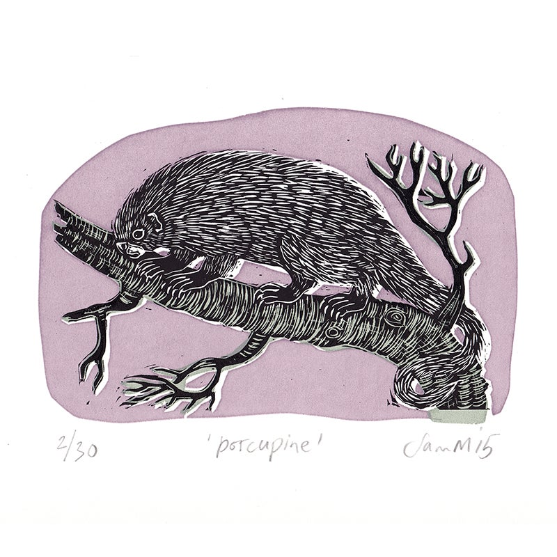 Image of 'Porcupine' - Linocut and screenprint