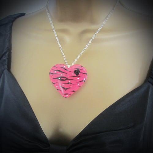 Image of Hot Pink Zebra Stripe Resin Heart Pendant