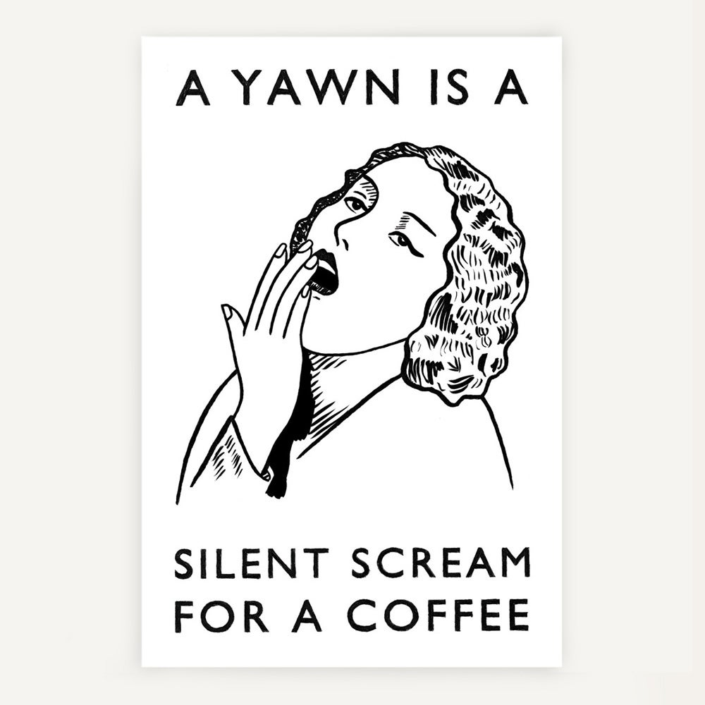Image of 'Silent scream for a coffee' tea towel - sold out!