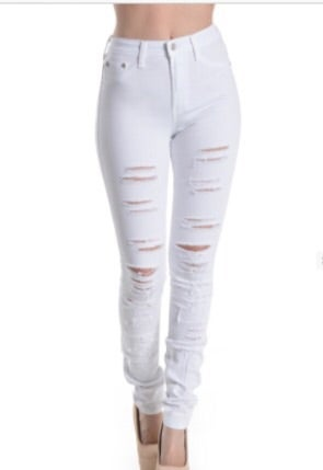 Image of White High Waist Ripped Jeans