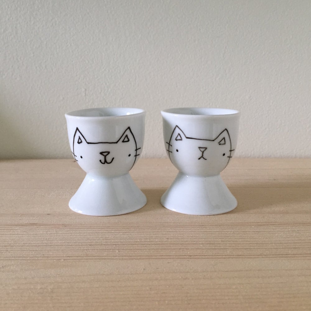 Image of kitteh egg cups -- ready to ship!