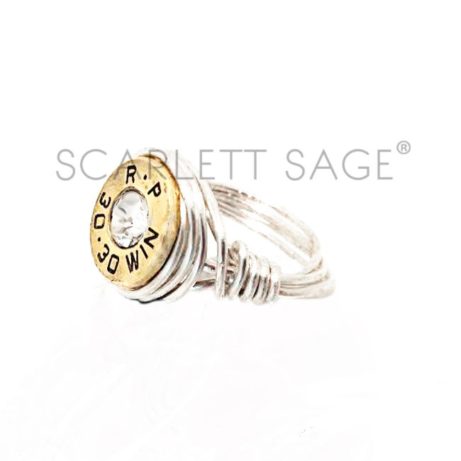 Image of Custom Wire Wrap Bullet Ring in Silver