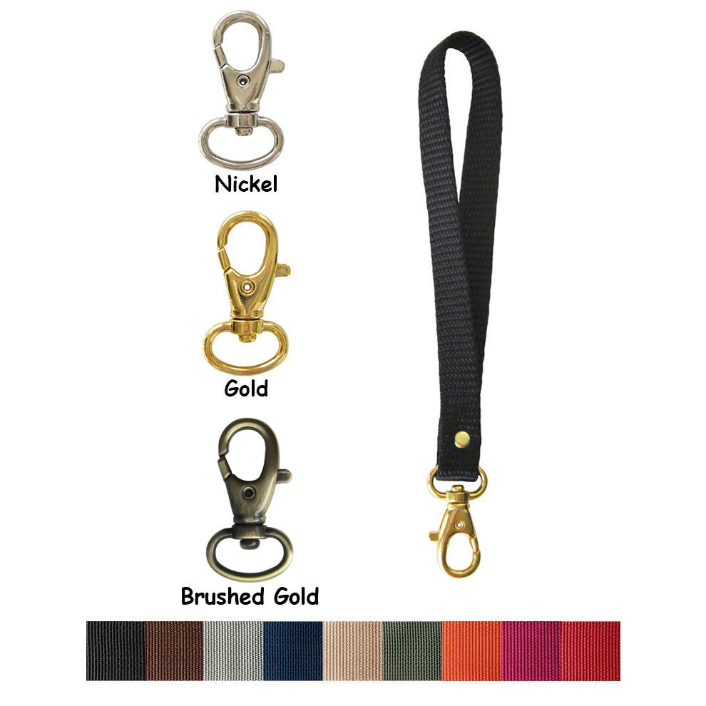 """Image of Nylon Webbing Wristlet Strap - 0.5"""" (half-inch) Wide - Your Choice of Color & Attachable Hook #8"""