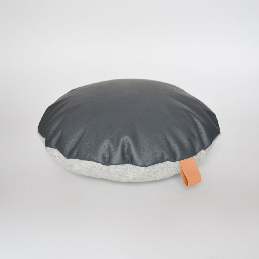 Image of Leather Tab Cushion Cover - Grey Round