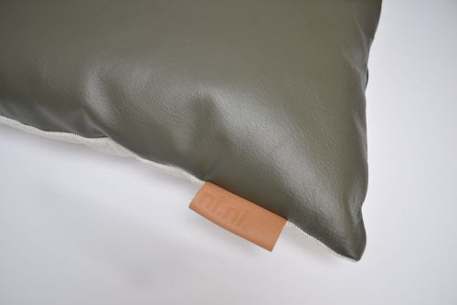 Image of SALE! LAST ONE - Leather Tab Cushion Cover - Olive Square with GREY FELT BACK