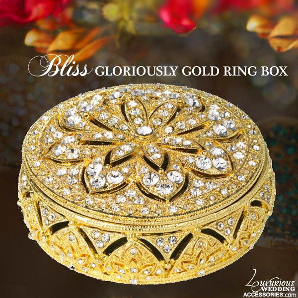 Image of Swarovski Crystal Ring Box Gloriously Gold