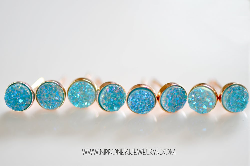 Image of Tiny Pariba Blue Druzy Studs , Rose Gold Druzy Bezel Studs