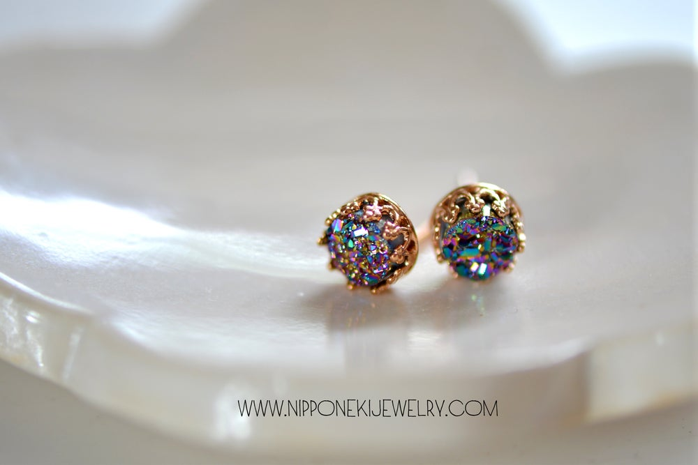 Image of Peacock Druzy Studs in Rose Gold Bezel , 6mm Druzy Crown Bezel Studs