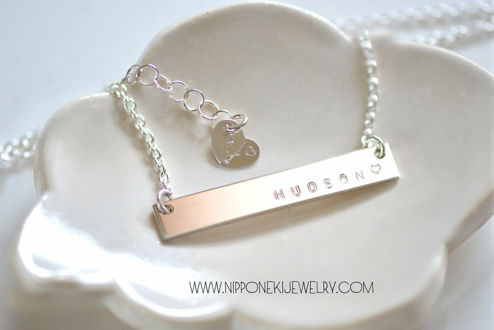 Image of Sterling Silver / Gold / Rose Gold Necklace - Heavy Bar Necklace - Nameplate Necklace