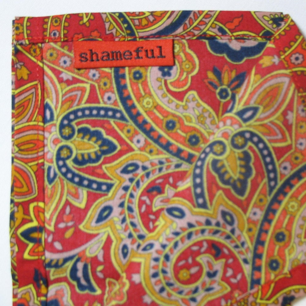 Image of Large handkerchief lush red and navy pattern
