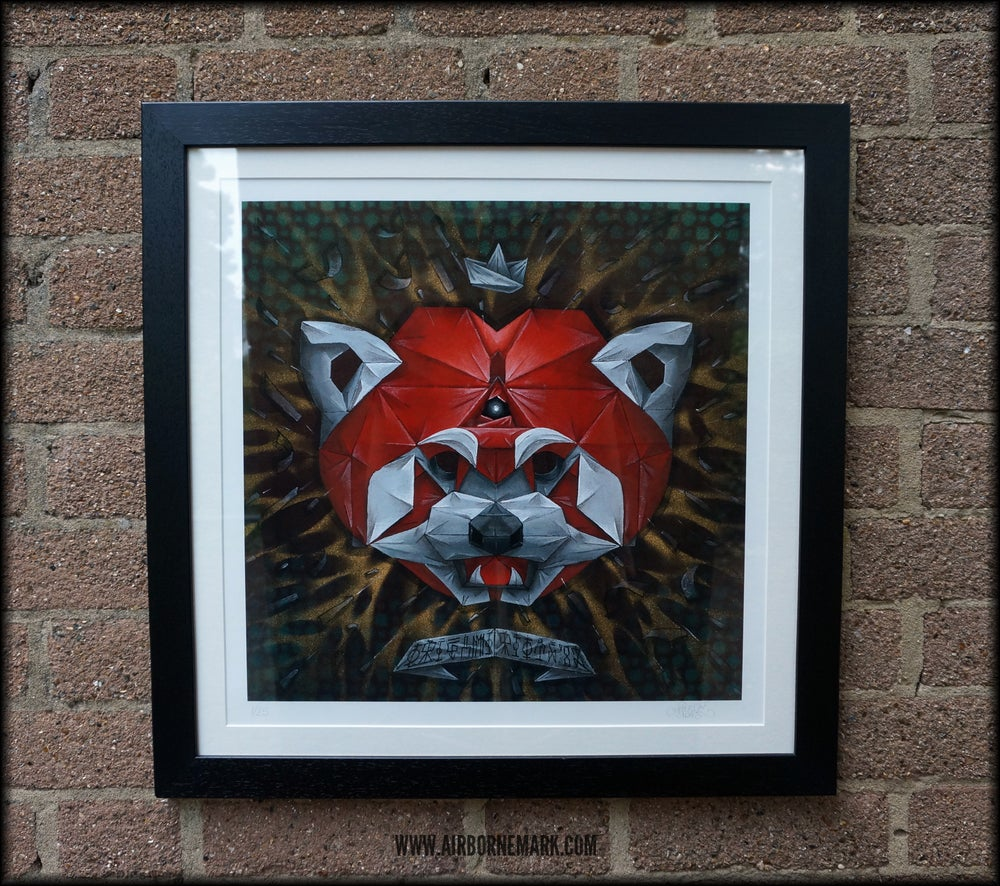 "Image of ""Origami Red Panda Third Eye Edition"" Glicee Print - Framed"