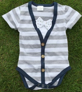 Image of Short Sleeve Baby Boy's Bow Tie Cardigan Onesie, Striped Gray with Navy Blue Trim