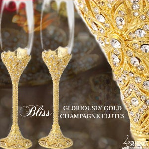 Image of Bliss Gloriously Gold Swarovski Crystal Champagne Flutes
