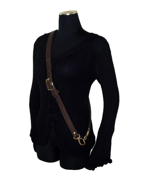 "Image of Extra Long Cross Body Adjustable Buckle Strap - 1"" Wide - Choose Leather Color & Hook #2"