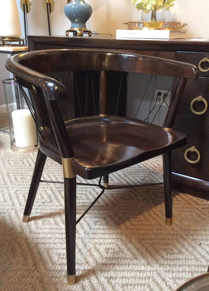 Image of Edward Wormley Chair with Brass Fittings and Cord Back
