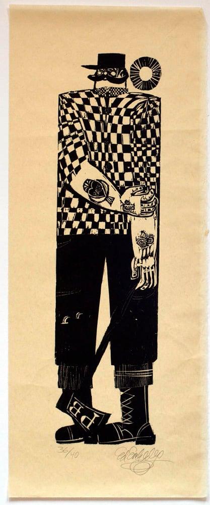 Image of Ed Emberley woodblock print, Paul Bunyan