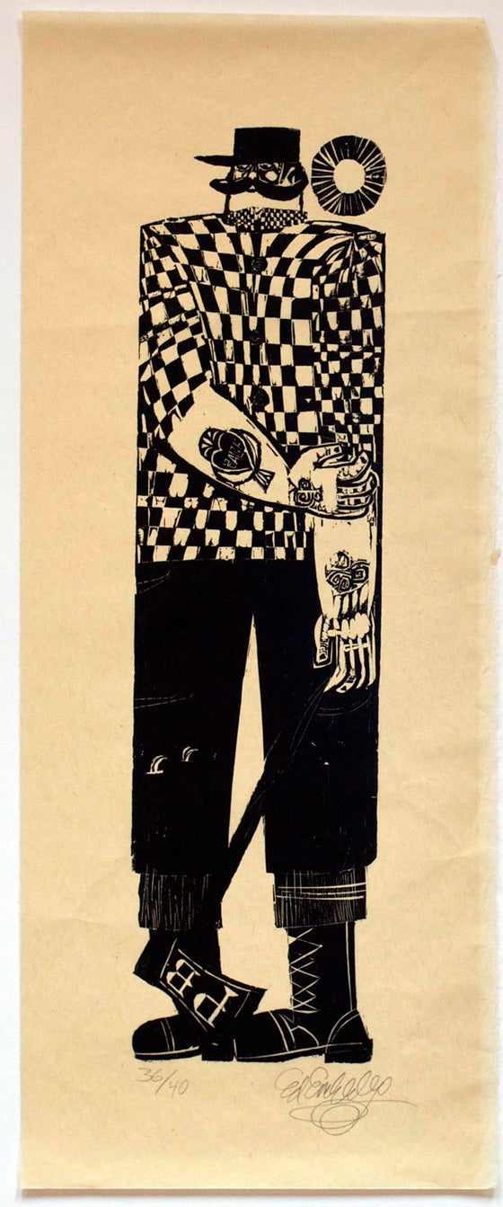 Image of Ed Emberley woodblock print, Paul Bunyan