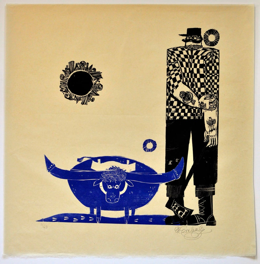 Image of Ed Emberley Woodblock Print, Babe the Blue Ox and Paul Bunyan