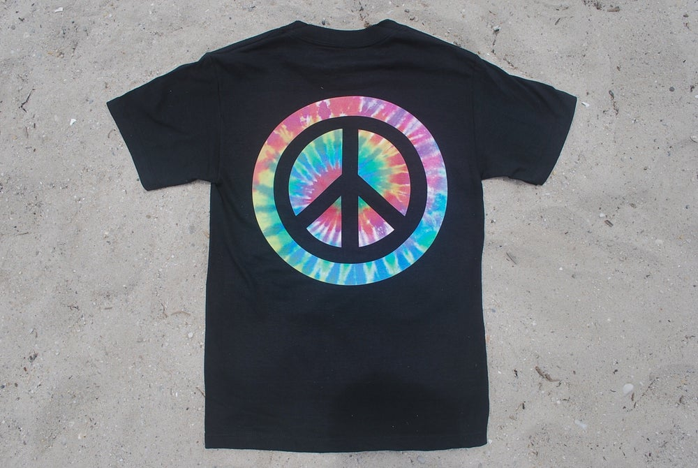 "Image of SNEAKER SPY REVERSE TIE DYE ""PEACE"" BLACK"