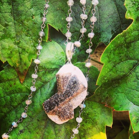 Image of Connection to Elemental Spirits and Mother Earth ~ Fairy Cross/Staurolite and Labradorite Necklace