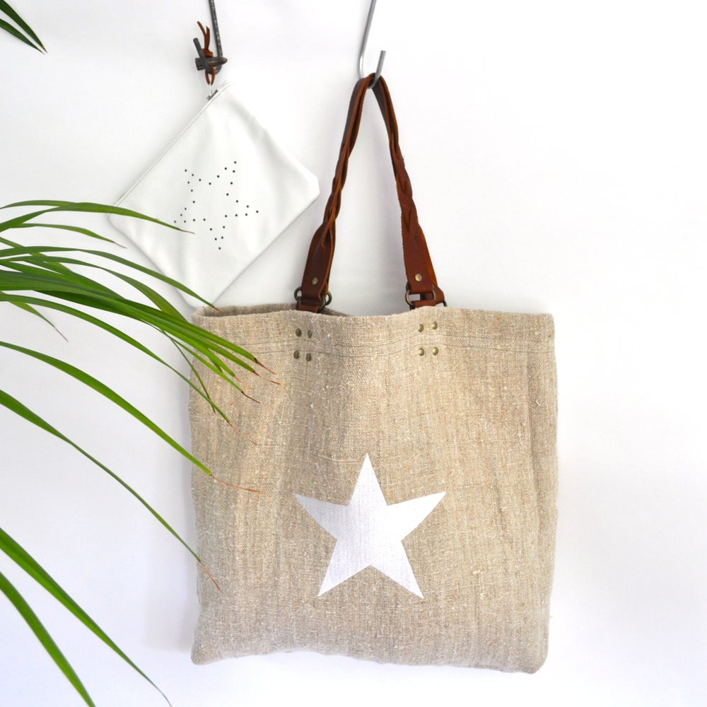 Image of ★Bessie Linen Tote - White star