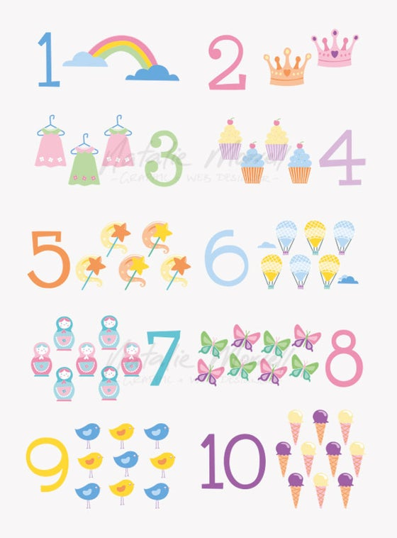 "Image of Baby Girl Number Poster 8"" x 10"" - Digital Download"