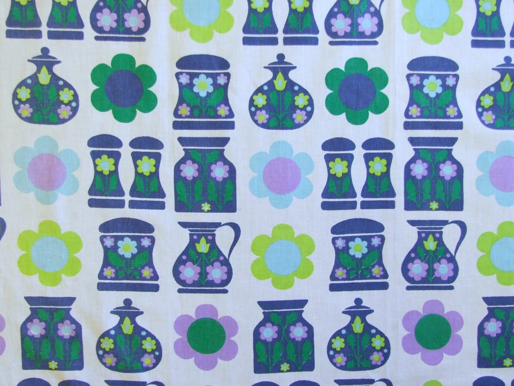 Image of 60s Kitchen vintage Fabric