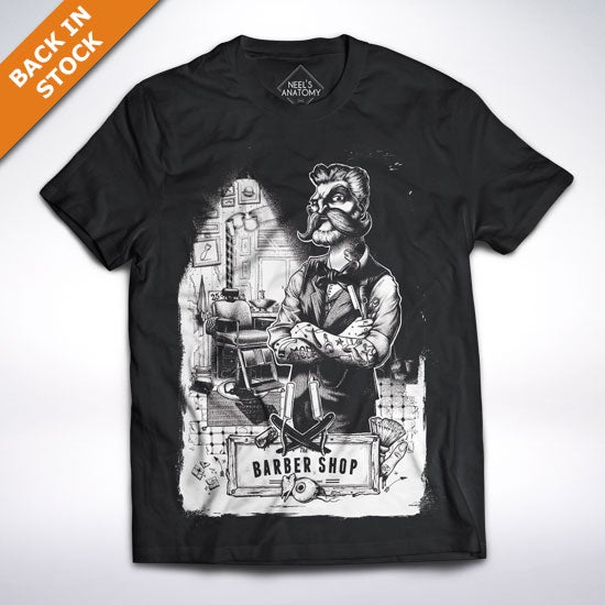 "Image of ""The barber shop"" black t-shirt"
