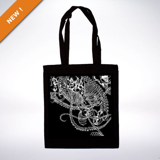 "Image of ""Ostheology"" black tote bags"