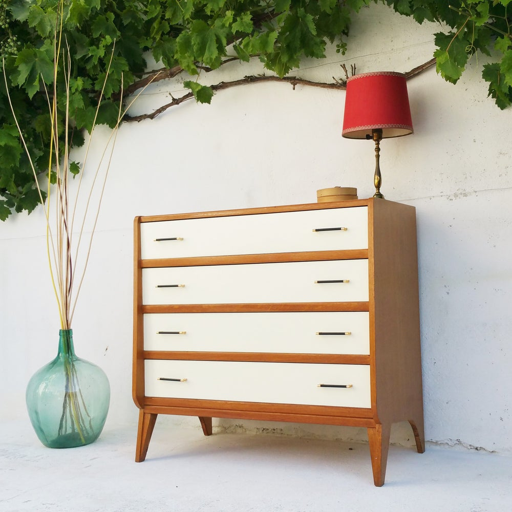 Image of Commode 4 tiroirs en bois - vintage