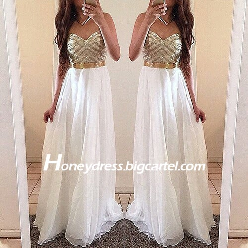 Image of White Chiffon Sweetheart Gold Beaded Prom Dress With