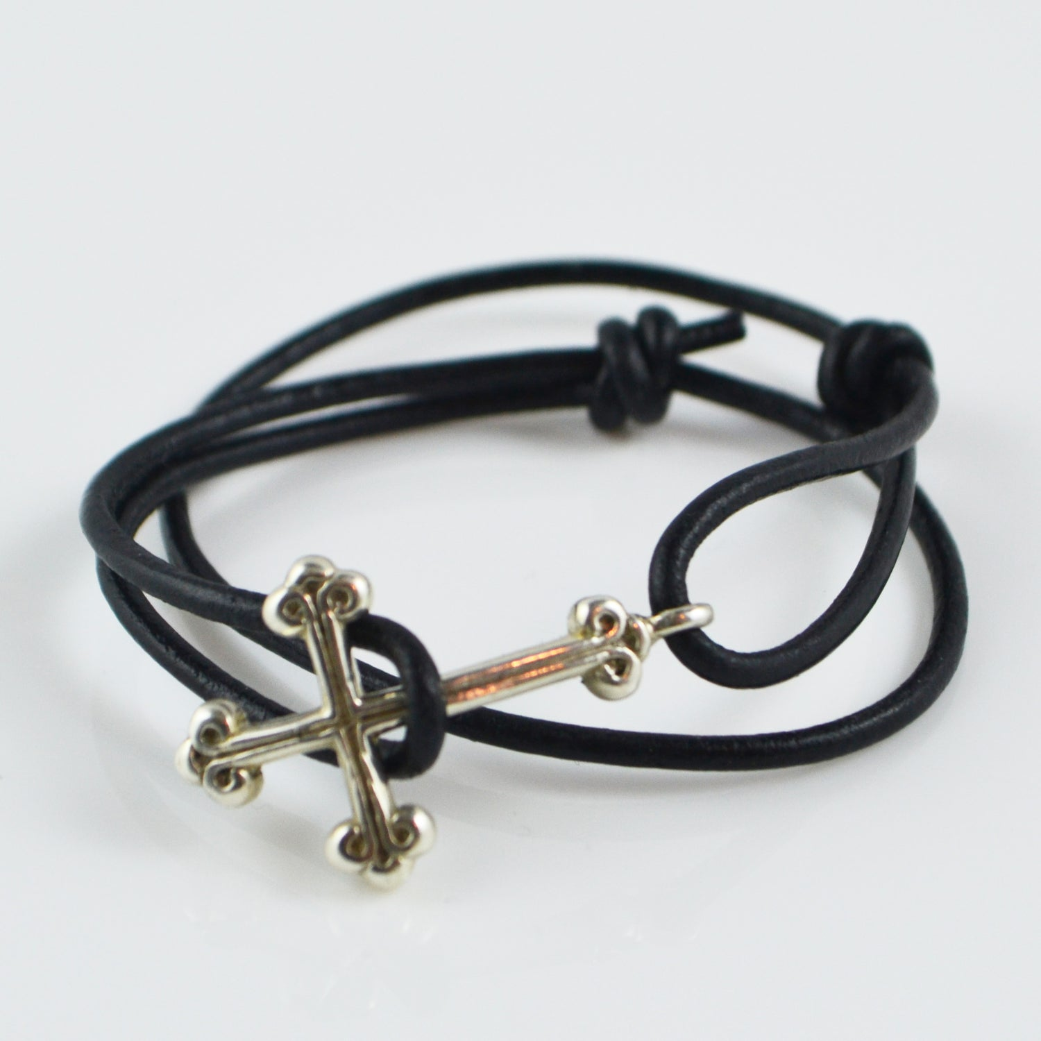 Image of Gothic Cross Leather Bracelet